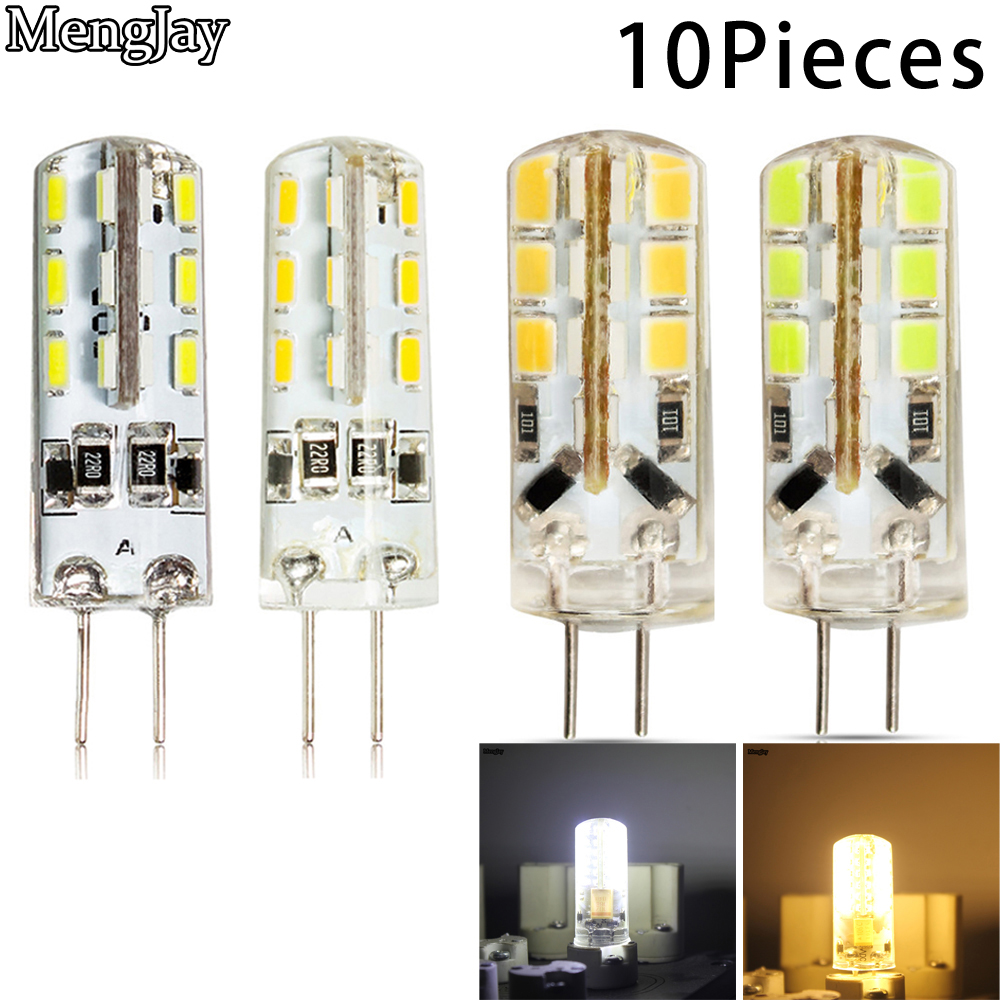 10Pieces 220V Silicone Bulb 24/48/64 LEDs 3W 5W 6W 8W SMD 2835 G4 LED Lamp  Replace 25W 35W 45W 55W Halogen Light Chandelier