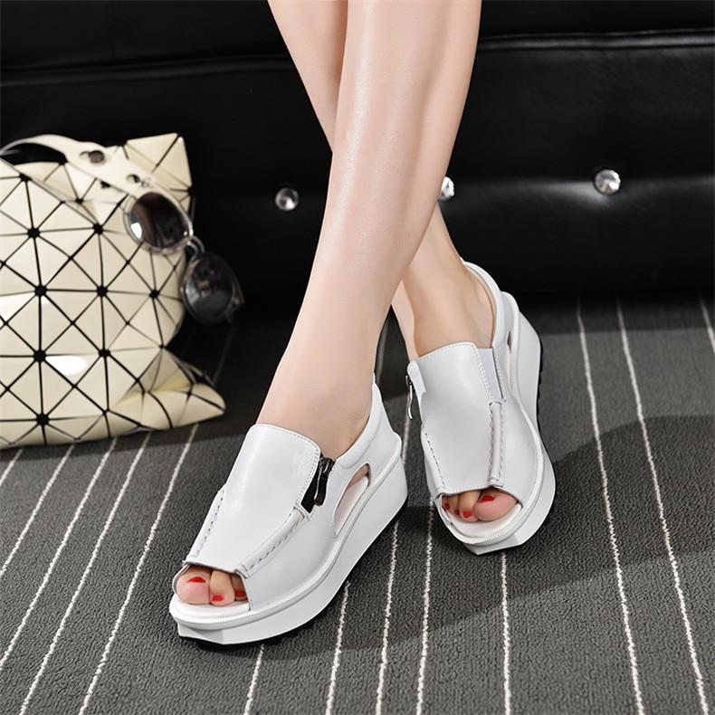 2019 Fashion Summer Women Sandals Wedges Sandals Ladies Open Toe Round Toe Zipper Silver White Platform Sandals Shoes (12)