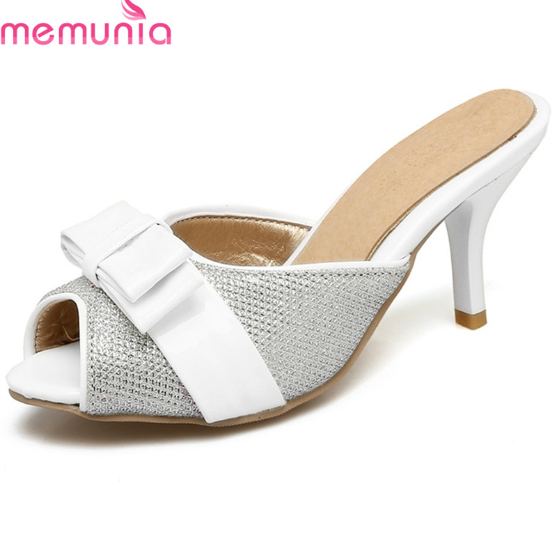 MEMUNIA 2018 new style women sandals sweet bowknot summer shoes peep toe shallow fashion shoes big size 35-47 high heels shoes 2018 summer new fashion women sandals comfort wedges heel5cm shallow peep toe ol working shoes big size 35 41 bow knot lady shoe