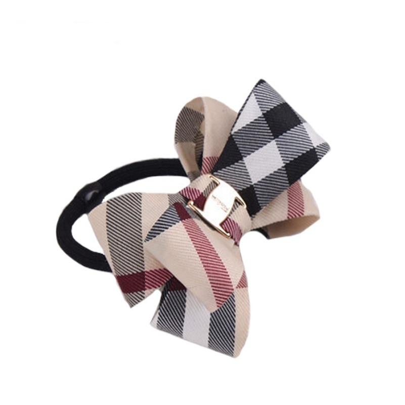 Plaid Hair Rope fashion Children Elastic HairBands Rubber Girls Headwear Women Hair Accessories  Bowknot Scrunchy