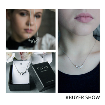 CZCITY Clear Cubic Zirconia Delicate Pendant with Box Chain Women Lightning Necklace 2017 CZ Crystal Necklace Jewelry Gift