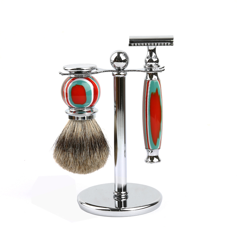 New COLOR STRIPE Men Shaving Set Double Edge Razor Badger Shave Razor Stand Brush Kit fashionable short stripe pattern edge 6cm width tie for men
