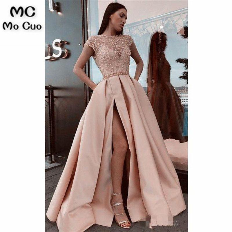2019 Stunning Prom Dresses Pageant Gown Front Split Short Sleeves Satin Zipper back Pink Prom Dresses
