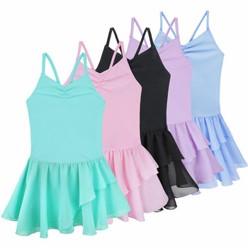 Kids Teenager Ballet Clothing Spaghetti Strap Ballet Dancer Gymnastics Leotard Dance Tutu Dress for Girls Class Dancewear