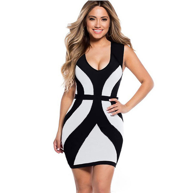 f14f732c402 Scenery beauty New Arrival Fashion Sexy Ladies Black White Curvy Lines  Thick Straps Bodycon Dress