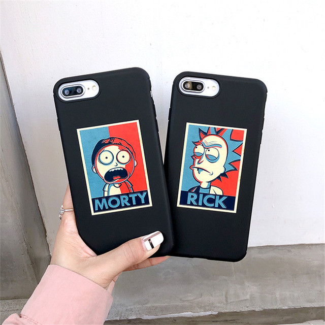 Cartoon Rick And Morty Black Silicone Fitted Cases