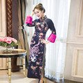 2017 new black red chinese women's silk cheongsam sexy qipao evening party gown dress totem&flower