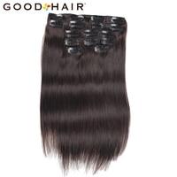 7Pcs Set Clip In Human Hair Extensions Straight 14inch 75G Black Natural Hair Clip Ins Brazilian