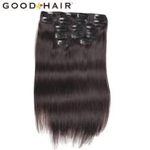 Good Hair 7Pcs/set Clip in on Human Hair Extensions Straight 14inch 75G Black Natural Hair Clip Ins Brazilian Remy Hair 8 color