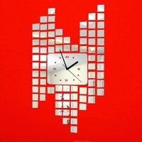 Silver Modern Stylish Small Square Circle Big Rectangle Art Mordern Luxury 3D Crystal Mirror Wall Clock