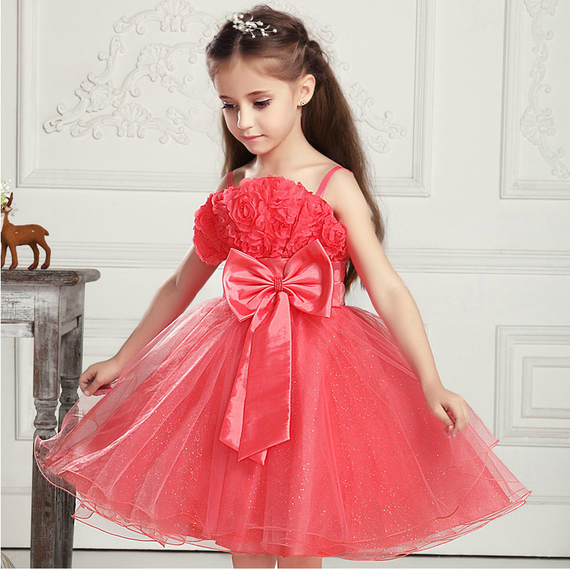 Girls Dress With Bow Age 2 to 8 Years 3D Rose Flower Girl Dresses For Party Wedding 6 Colors Christams Princess Party Dress New 3 7v lithium polymer battery 601723 battery bluetooth headset battery length 23mm wide 17mm thick