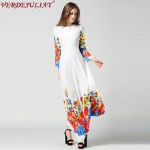 Vintage Dresses Women Summer 2019 Runway Fashion Flowers Print European Floor-Length Long Empire White Top Shop Dress(China)
