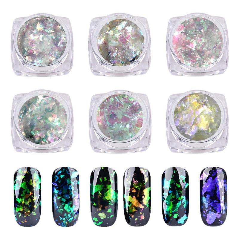 1Box Chameleon Flakes Nail Glitter Magic Powder Dust Shiny Sequins For 3d DIY UV Gel Nail Art Decorations Manicure Tools