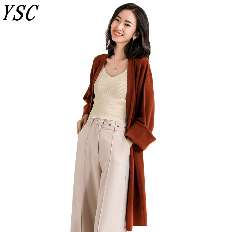 YSC 2019 New Design Cashmere blended Cardigan roll up the sleeves Long style No buttons cardigan High-quality Free Shipping