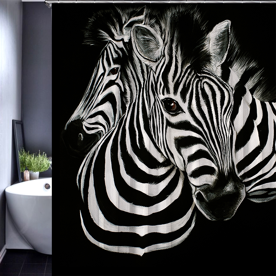 Brown zebra bathroom set for Animal bathroom decor