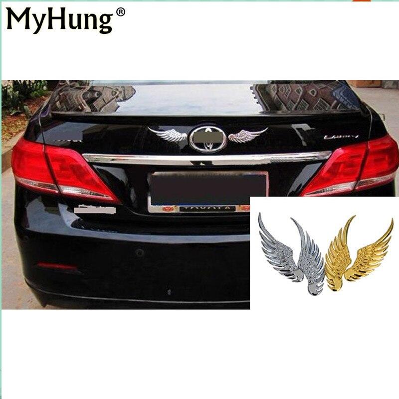 2PCS 3D Angel Hawk Wings Emblem Badge Alloy Metal Sticker Logo Car Auto Decal
