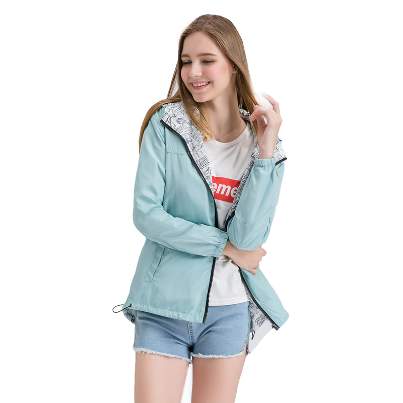 Basic     Jacket   Pocket Zipper Hooded Bomber Two Side Wear Cartoon Print Outwear Loose Coat Windbreaker Female 2018 Autumn