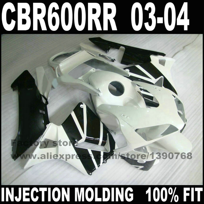 7gifts ABS Injection moto parts for 2003 2004  CBR 600 RR RR F5 fairings kit  CBR600RR 03 04 white black fairing set injection molded fairing kit for honda cbr600rr 03 04 cbr600 cbr600rr f5 2003 2004 top white black abs fairings set zq23