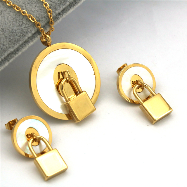 pz fashion stainless steel jewelry sets Trendy lock shape  Gold color  Necklace Earring  Sets for women