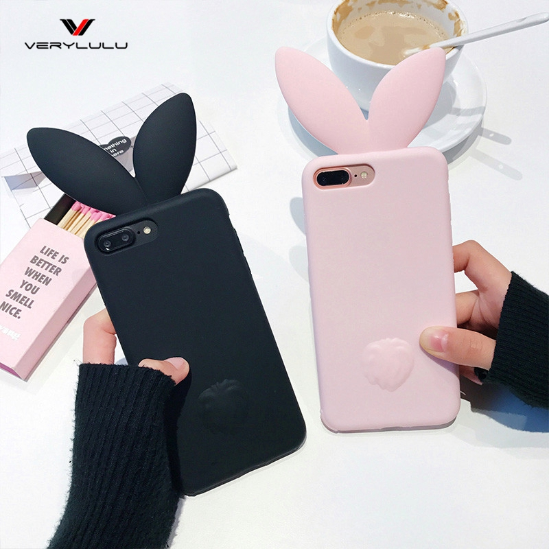 Coque Silicone 3D Cute Bunny Rabbit Ears Tail Back Phone Coque Cover For Apple iPhone 6 6s plus 7 plus 5 5S SE Case Capa fundas