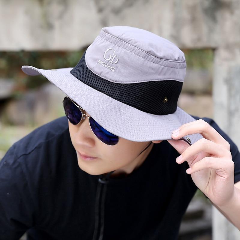 Outdoor Sport Hiking Visor Bucket Hat Men Wide Brim Breathable Waterproof  Sun Fishing hat UV Protection fisherman Cap Panama hat-in Bucket Hats from  Apparel ... d90ef78a8b3