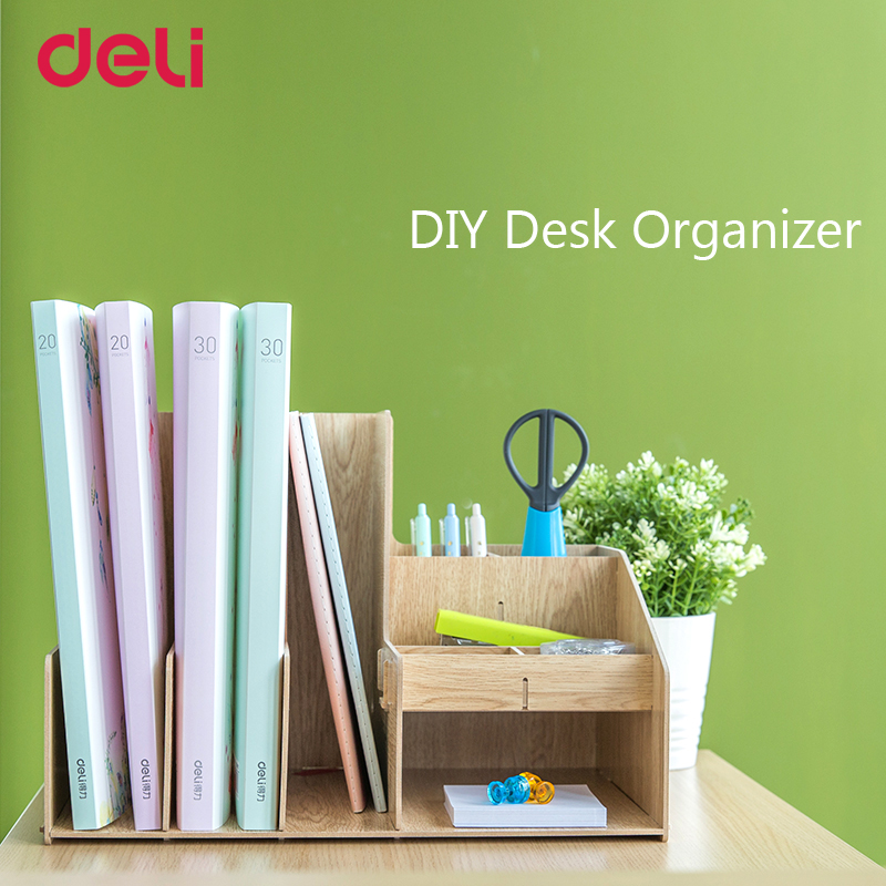Deli 2018 creative high quality DIY fiber wooden desk file tray set for school stationery office desk orangizer supply gift cute