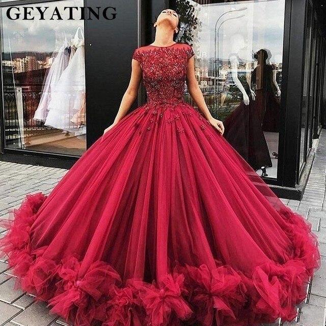 Us 196 8 20 Off Merah Marun Gaun Pengantin Putri Quinceanera Gaun Manis 15 Vestido De Quinceanera 2019 Beaded Lace Off Bahu Gaun Pesta Bengkak Di