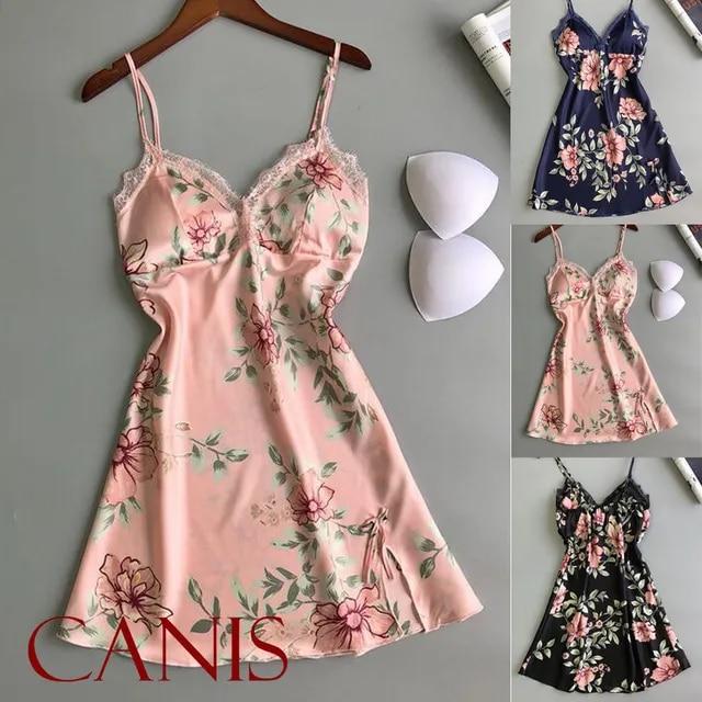 2019 Sexy Women's Floral Satin Silk Lace Skirt Lingerie Pajamas Nightdress Sleepwear