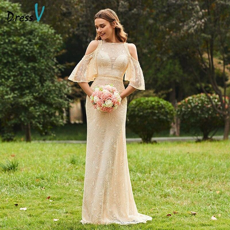 DressV Длинные платье подружки невесты Scoop Средства ухода за кожей шеи Половина рукава line Кружево простой пользовательский Элегантный Наряды