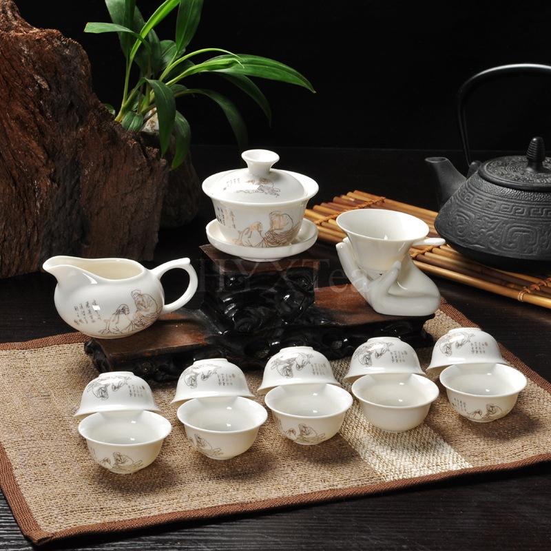 Kungfu Tea Set 14 Pcs Chinese Wedding Porcelain China Saint For Ceremony Free Shipping In Coffee Sets From Home Garden On