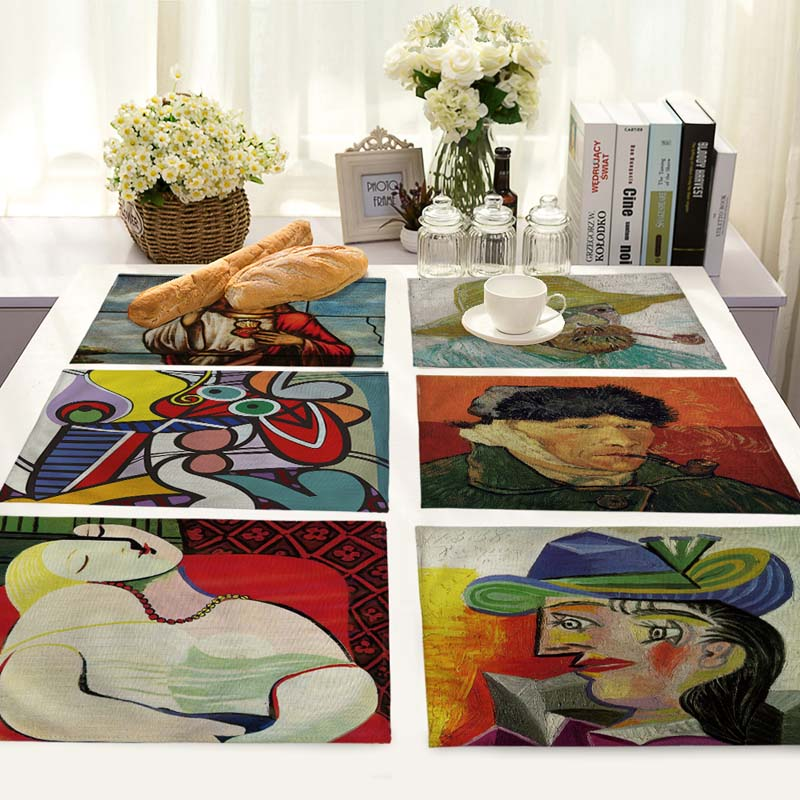 beautiful abstract paintings for Wedding Restaurant Dinner Jacquard Table Cloth Fabric Napkins Home Table Napkins 42*32cm MC0055