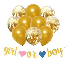 11pcs Baby Shower Decorations Confetti Latex Balloons Glitter Girl or Boy Banner Gender Reveal Party Supplies