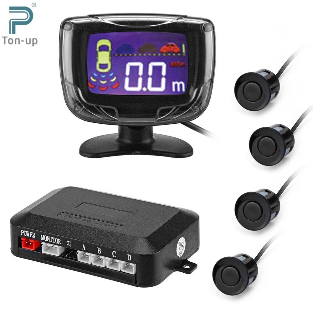 imágenes para Sensor de Aparcamiento Pantalla LCD 12 V 4 Sensores Radar de Reserva Reverso 22mm Zumbador Sistema Detector Automático Kit para todos los Coches