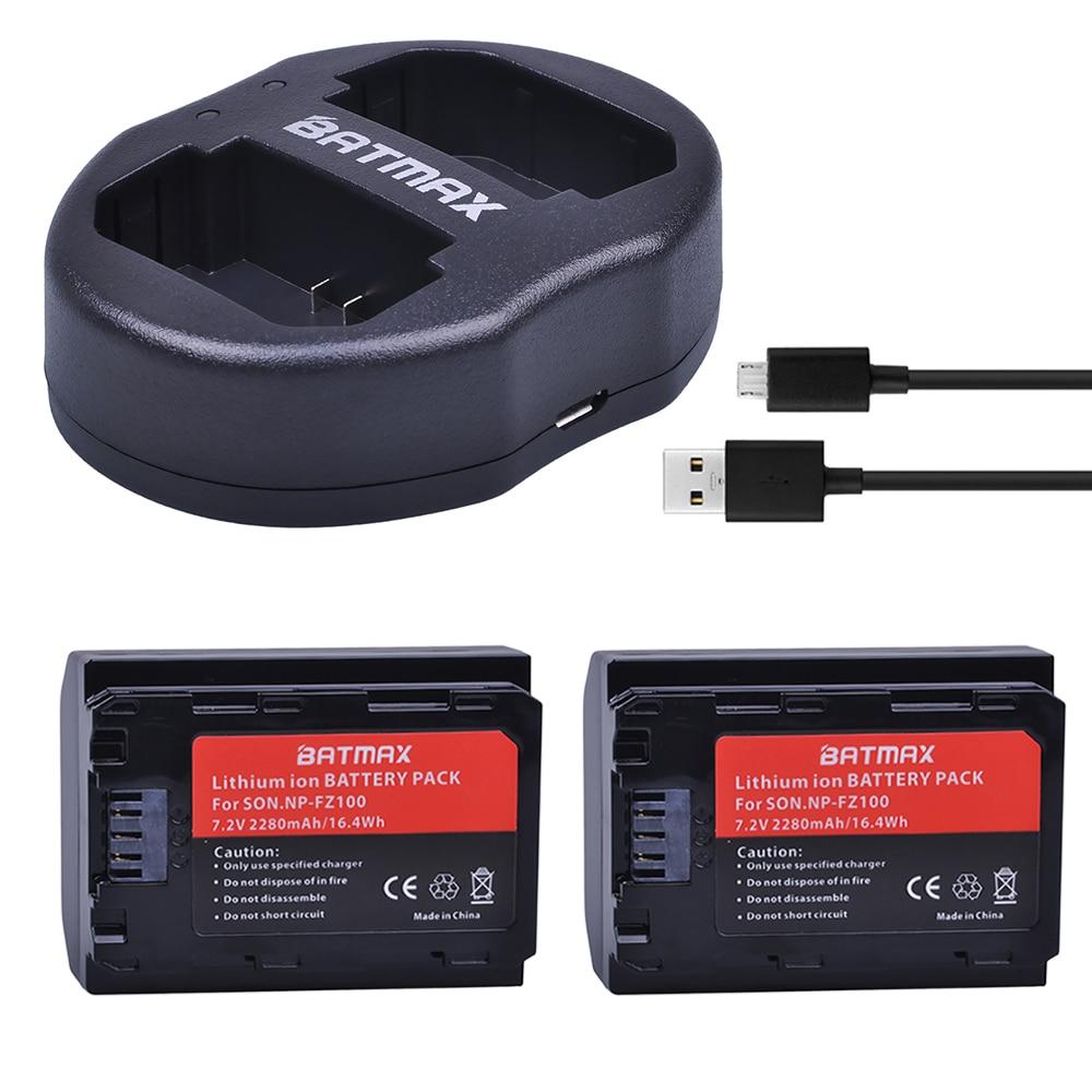 2pcs NP FZ100 NPFZ100 NP FZ100 Batteries + Dual USB Charger for Sony Alpha9 Sony A9 Sony Alpha9R Sony A9R Cameras|Digital Batteries| |  - title=