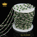 DIY 4mm Wire Wrapped Beaded Rosary Chain Faceted Olive Green Glass Quartz Beads for Necklace Bracelet DS012