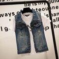 Горячие продажи Плюс Размер весте en джинсы джинсы жилет Джинсовой женщины Жилет топы punk Rock потертые потертые blazer геометрические синий S-4XL