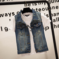 Hot sale Plus Size veste en jeans jeans vest Denim Women Vest tops punk Rock frayed blazer frayed geometric blue  S-4XL