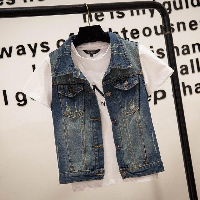Hot sale Plus Size veste en jeans jeans vest Denim Women Vest tops punk Rock frayed blazer frayed geometric blue  S-4XL