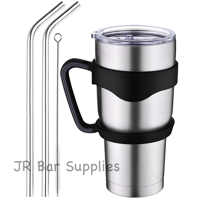 30 oz Insulated Tumbler Travel Mug, Double Wall Vacuum Stainless Steel Cup Bundle with Lid, Handle, 2 Curved Straws