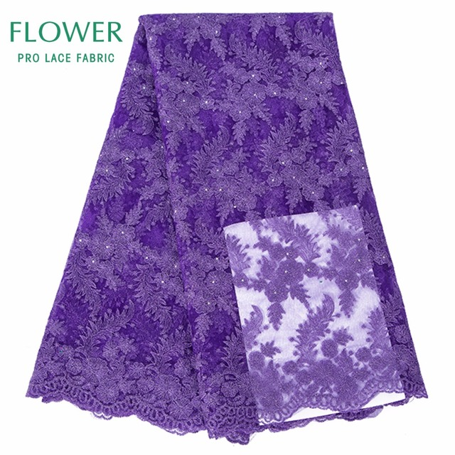 Rhinestones French African Mesh Lace Fabric With Stones In Purple Indian  Guipure Net Lace Flower Embroidered 698e55cbbb05