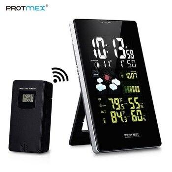Protmex PT3352C Wilreless الطقس محطة ، الرقمية توقعات الطقس محطة الرطوبة LCD شاشة ملونة مع جهاز استشعار خارجي