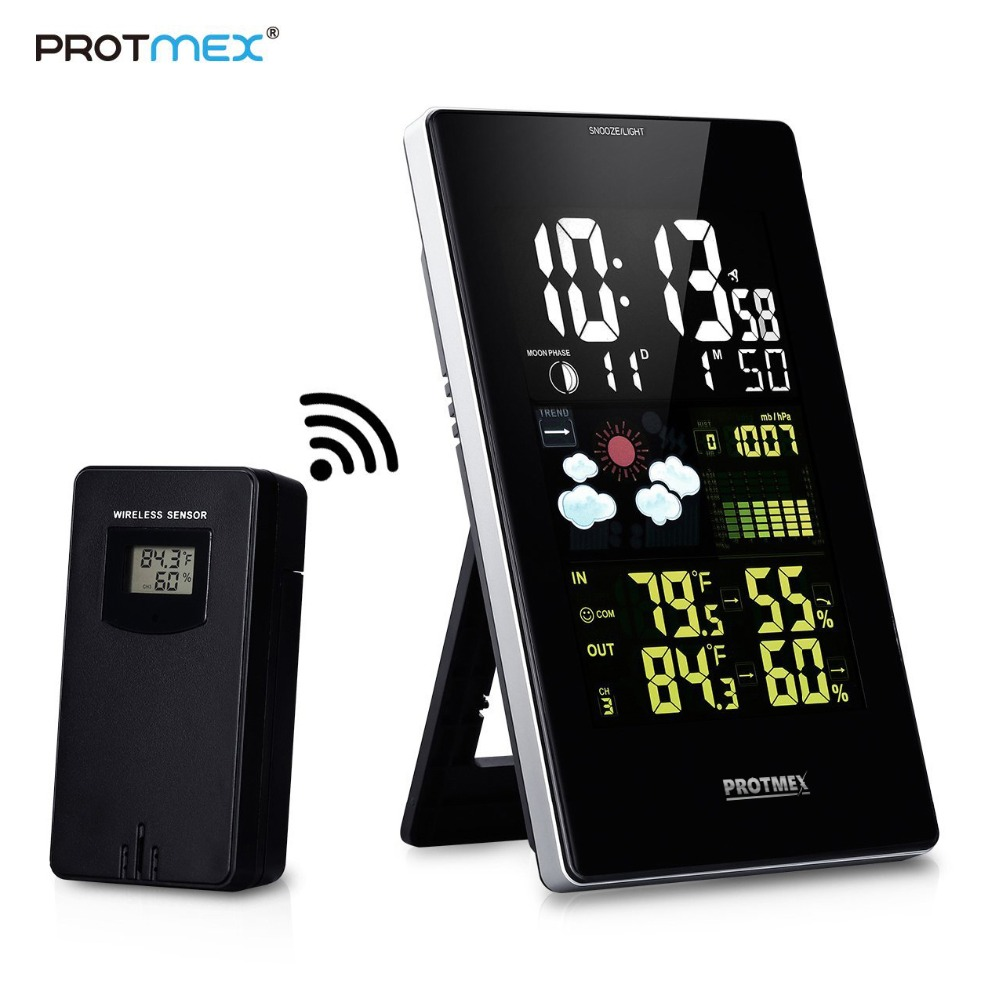 Wireless Weather Station, Protmex PT3352C Digital Weather  Forecast Station Indoor Outdoor Thermometer HygrometerTemperature  Instruments