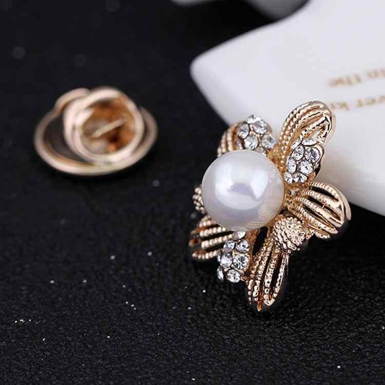 Drop Pengiriman Trendy Perhiasan Rhinestones Hias Bunga Berbentuk Bros Kerah Pin Gaun Dekorasi dapat dropshiping