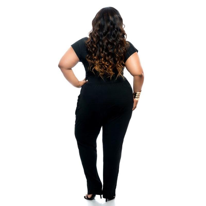 d83d80fc018 2017 Summer Jumpsuit Women s V neck Rompers Sexy Fashion Waist Bodysuit  Pants Ladies Coveralls Black Blue XXXL Plus Size CXY01-in Jumpsuits from  Women s ...