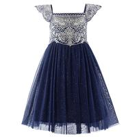 2017 Newest Summer Style Navy Pink Tulle Girls Dress With Exquisite Embroidery Lace Top Grace Classic Kids Dress Children Wear