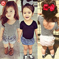 2016 Summer Backless Children Girls T shirt Striped Kids Girl T-shirts Cotton 24M-6T Baby Girl's Costume Clothes Tee Clothing