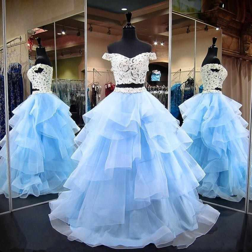 Linyixun Ánh Sáng Blue Ball Gown Two Pieces Prom Dresses 2018 Ren Cap Sleeve Cascading Ruffles Organza Evening Gown Chính Đảng