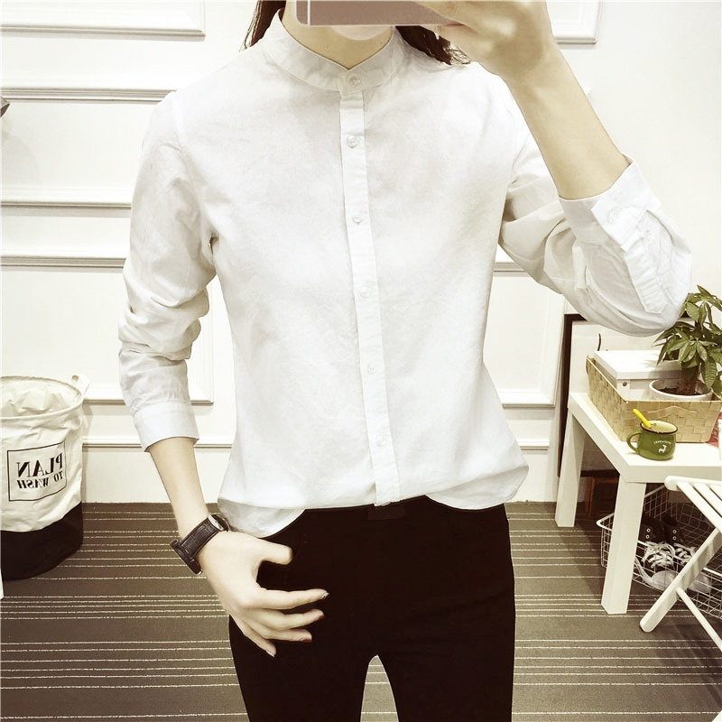 2019 Women Autumn New Fashion OL Casual White Shirts Long Sleeve Stand Collar Blouse Cotton Office Lady Female Blusas Tops