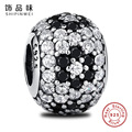 Vintage 925 Sterling Silver Round Crystals Charms Fit Pandora Original Bracelet Necklace DIY Beads For Women Jewelry Making