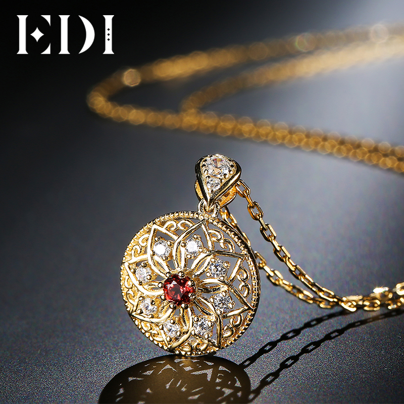 EDI Genuine 5mm Natural Garnet Gemstone Pendant Necklace For Women 925 Sterling Silver Fashion Fine Jewelry Gifts edi genuine natural freshwater pearls 5mm 100